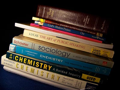 Assortment of textbooks